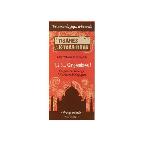7750100 Tisanes & Traditions 1,2,3 Gingembre Boite Recharge 20 Sachets