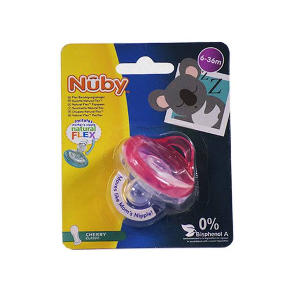 98810RO Nuby Sucette Natural Flex Cherry Classic Rose 6-36 mois