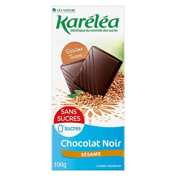 Karéléa Chocolat Sans Sucres Tablette Chocolat Noir Sésame 100g