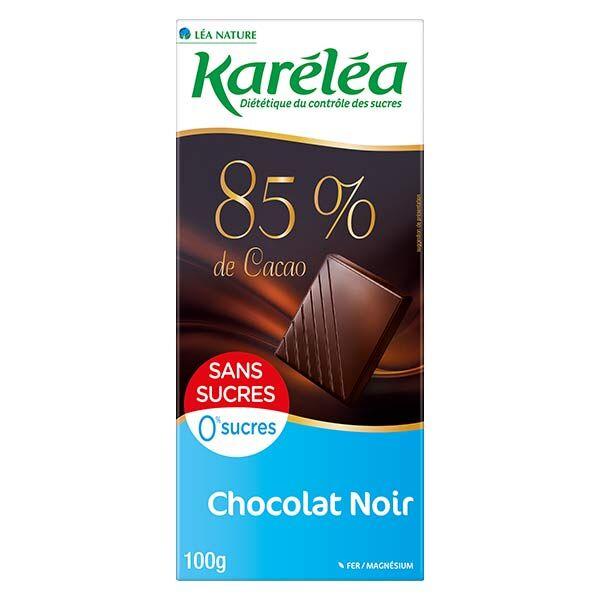 Karéléa Chocolat Sans Sucres Tablette Chocolat Noir 85% Cacao 100g