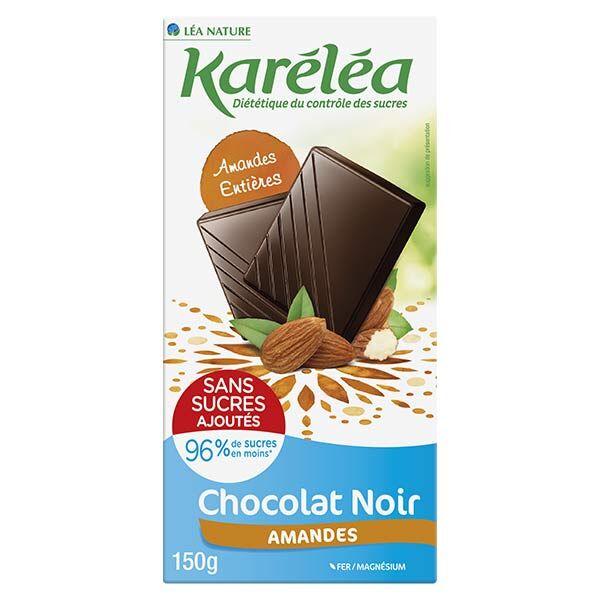 Karéléa Chocolat Sans Sucres Ajoutés Tablette Chocolat Noir Amandes 150g