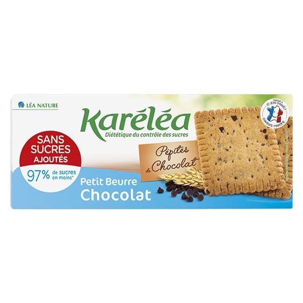 Karéléa Biscuits Sans Sucres Ajoutés Petit Beurre Pépites de Chocolat 150g