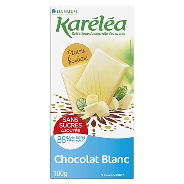 Karéléa Chocolat Sans Sucres Ajoutés Tablette Chocolat Blanc 100g
