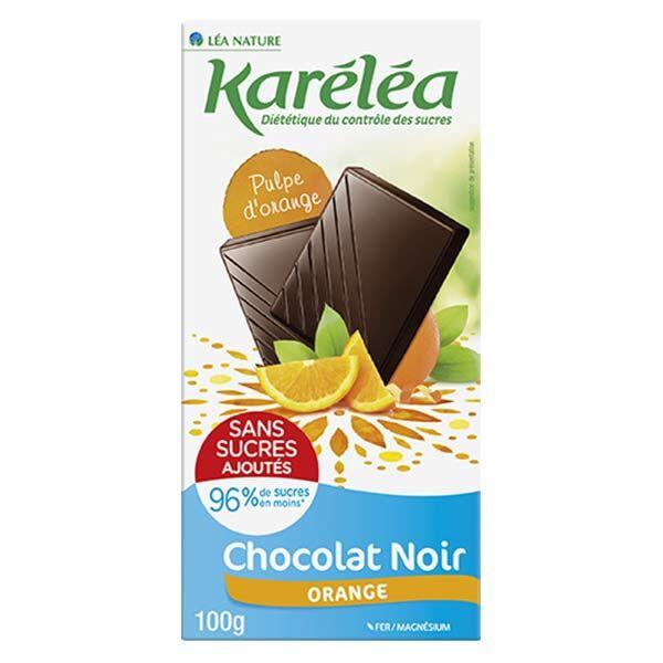 Karéléa Chocolat Sans Sucres Ajoutés Tablette Chocolat Noir Orange 100g