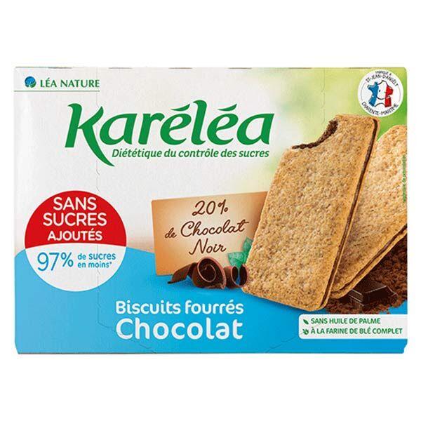 Karéléa Biscuits Sans Sucres Ajoutés Fourrés Chocolat Noir 170g