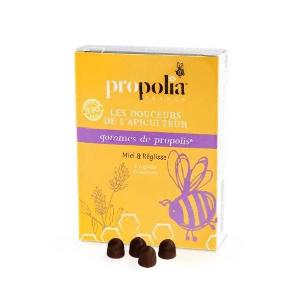 Propolia Les Douceurs de l'Apiculteur Gommes de Propolis Miel & Réglisse 45 unités