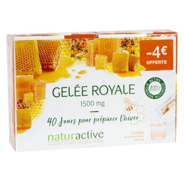 Naturactive Gelée Royale 1500mg Goût Miel Lot de 2 x 20 sticks