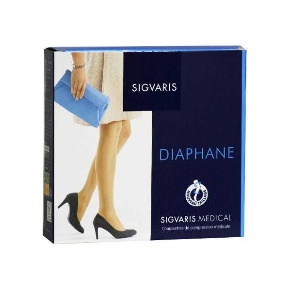 Sigvaris Essentiel Semi-Transparent Chaussettes Pieds Ouverts Classe 2 Long Taille M Cannelle