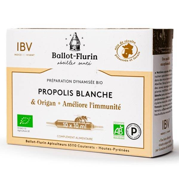 Ballot Flurin Ballot-Flurin Préparation Dynamisée Propolis Blanche Origan Bio 10 ampoules