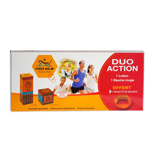 Baume du Tigre Coffret Duo Action Lotion 28ml + Baume Rouge 19g + Roulette de Massage Offerte
