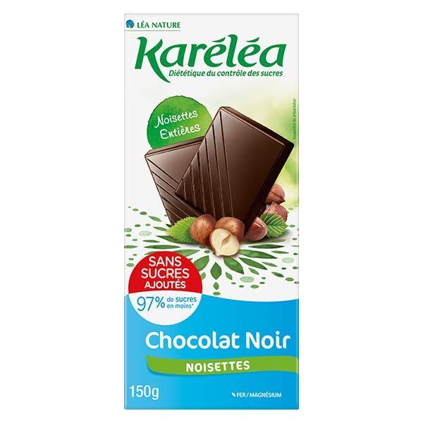 Karéléa Chocolat Sans Sucres Ajoutés Tablette Chocolat Noir Noisettes 150g