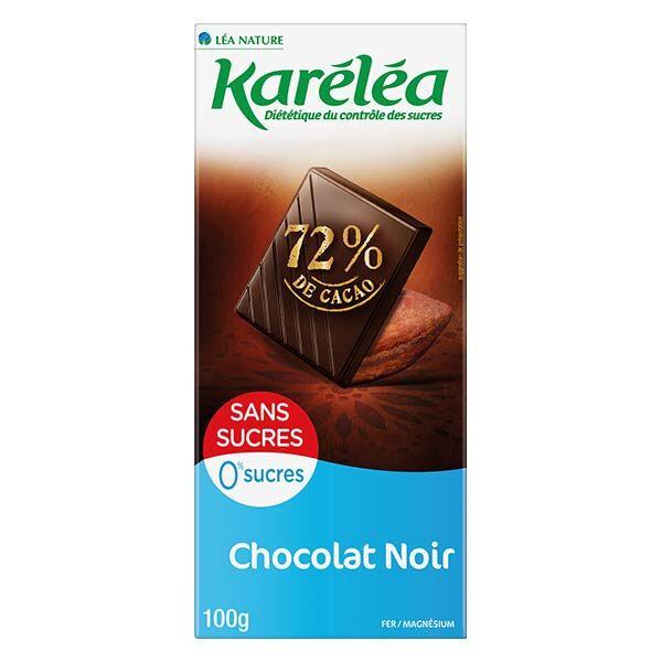 Karéléa Chocolat Sans Sucres Tablette Chocolat Noir 72% Cacao 100g