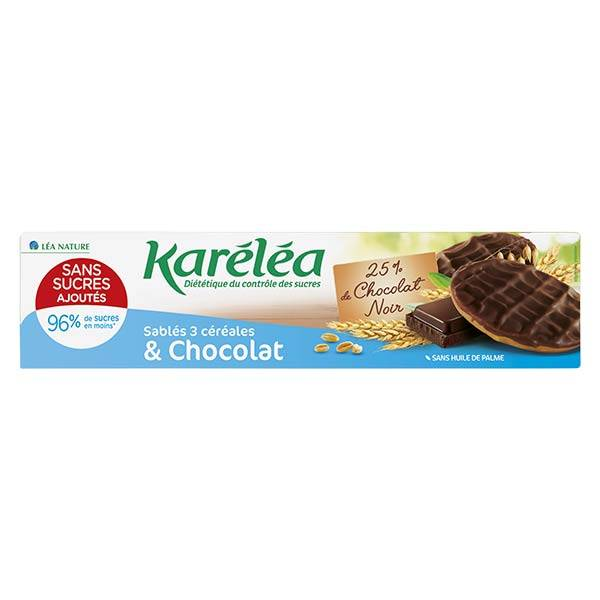 Karéléa Biscuits Sans Sucres Ajoutés Sablés 3 Céréales Chocolat 128g