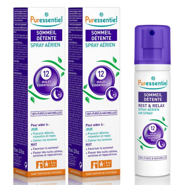 Puressentiel Sommeil et Détente Spray Aérien aux 12 Huiles Essentielles Lot de 2 x 75ml