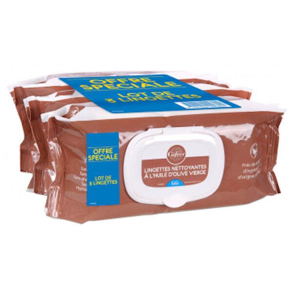 Gifrer Lingettes Nettoyantes à l'Huile d'Olive Lot de 3 x 70 lingettes