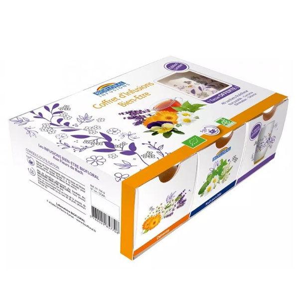 Biofloral Coffret avec 4 Infusions Bien-Être Bio 40 sachets + 1 Tasse Offerte
