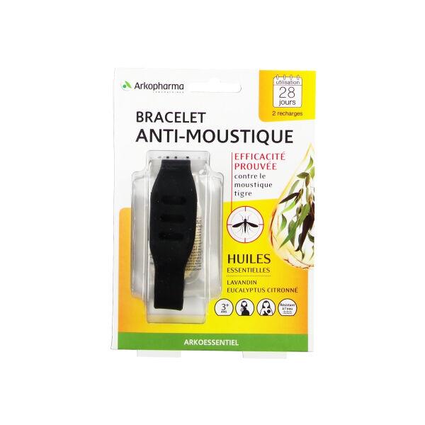 Arko Essentiel Bracelet Anti-Moustiques Noir + 2 Recharges