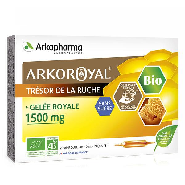Arkopharma Arkoroyal Trésor de la Ruche Gelée Royale 1500mg Sans Sucre Bio 20 ampoules