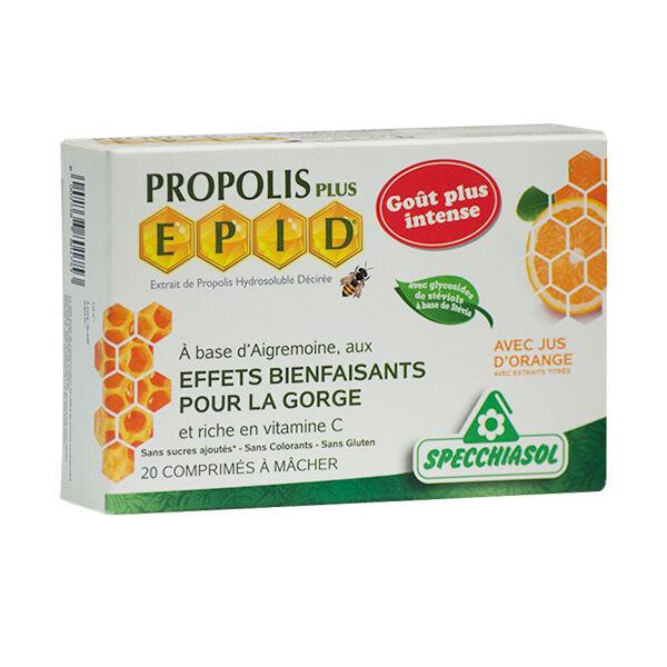 Specchiasol Propolis Plus Epid Gorge goût Orange 20 comprimés