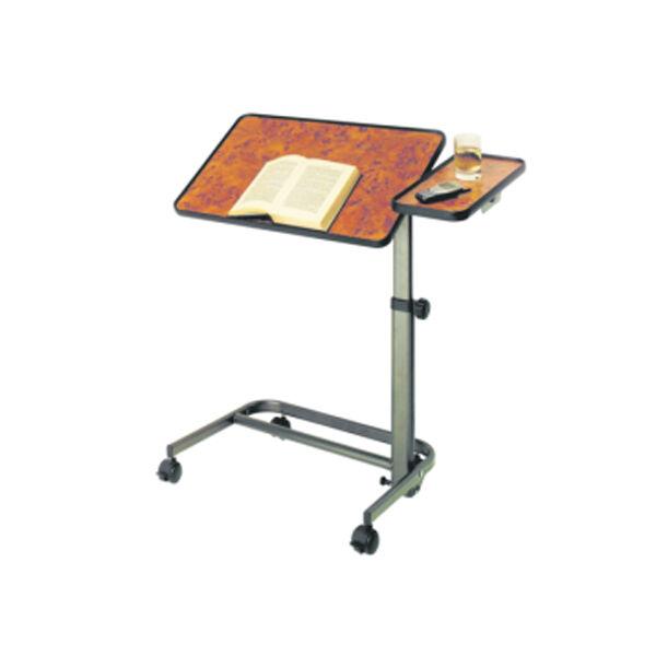 Lysse Matériel Médical Table de Lit sur Roues Multipositions Plateau Ronce de Noyer + Tablette Latérale 60 x 40cm
