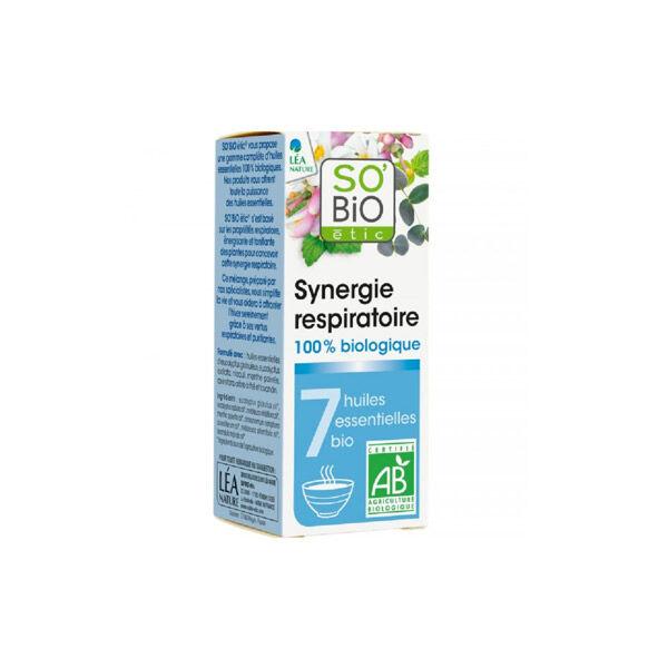 So'Bio Étic Arôma Synergie Respiratoire pour Diffuseur aux 7 Huiles Essentielles Bio 10ml