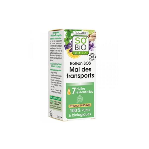 So'Bio Étic Arôma Roll-On SOS Mal des Transports aux 7 Huiles Essentielles Bio 5ml