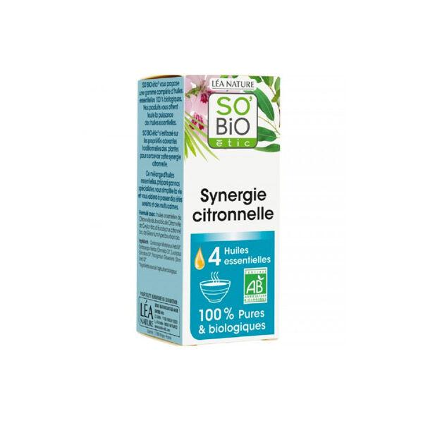 So Bio Etic Synergie Citronnelle pour Diffuseur aux 4 Huiles Essentielles Biologiques 10ml
