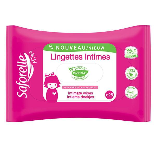 Saforelle Soin & Hygiène Miss Lingettes Intimes Biodégradables 25 lingettes
