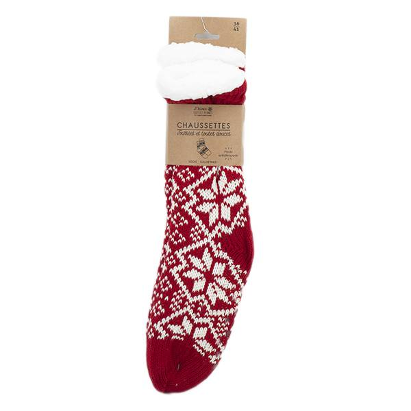 Lysse Cosmetics Chaussettes Hiver Femme Rouge Pointure 36 - 41