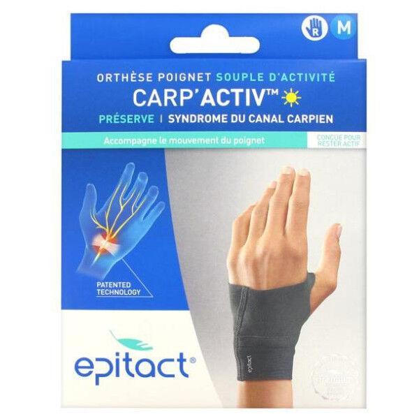 Epitact Carp'Activ Orthèse Poignet Souple d'Activité Préserve Syndrome du Canal Carpien Droite Taille M 1 unité