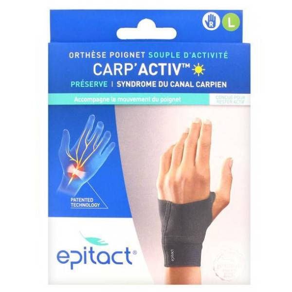 Epitact Carp'Activ Orthèse Poignet Souple d'Activité Préserve Syndrome du Canal Carpien Droite Taille L 1 unité