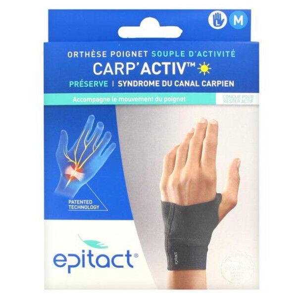 Epitact Carp'Activ Orthèse Poignet Souple d'Activité Préserve Syndrome du Canal Carpien Gauche Taille M 1 unité