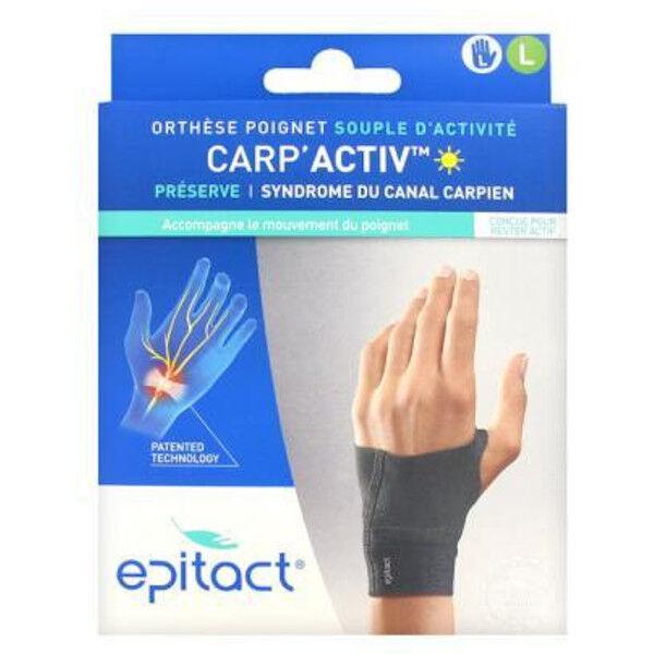 Epitact Carp'Activ Orthèse Poignet Souple d'Activité Préserve Syndrome du Canal Carpien Gauche Taille L 1 unité