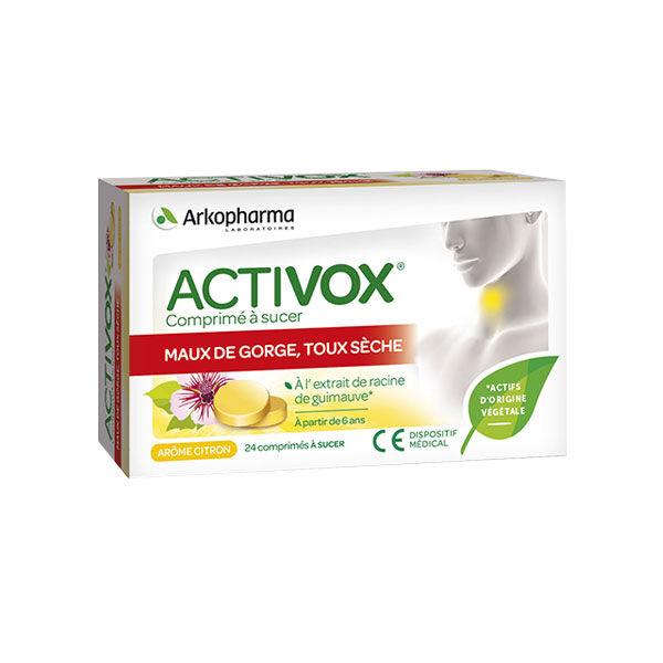 Arkopharma Activox Maux de Gorge Toux Sèche Arôme Citron 24 comprimés à sucer