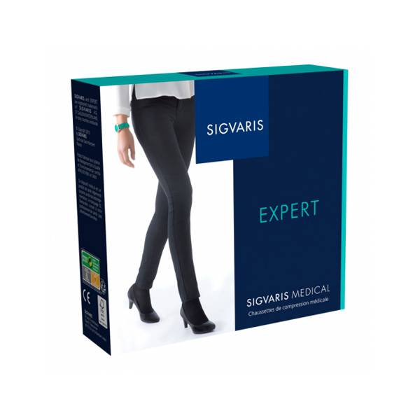 Sigvaris Expert Chaussettes Femme Classe 3 Extra-Small Long Noir