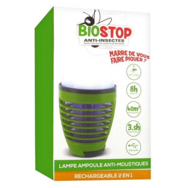 Biostop Lampe Ampoule Anti-Moustiques Rechargeable