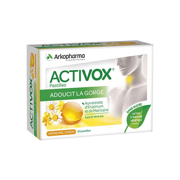 Activox Pastille Sans Sucre Arôme Miel/Citron 24 pastilles
