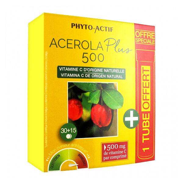 Phyto-Actif Phytoactif Acérola plus 500 2 x 15 comprimés + 15 Offerts