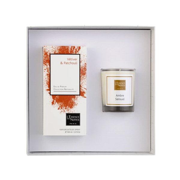 Essence des Notes Coffret Eau de Parfum Vétiver et Patchouli 100ml + Bougie Ambre Sensuel