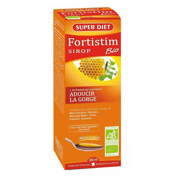 Super Diet Fortistim Sirop Plantain Adoucissant Bio Flacon de 200ml
