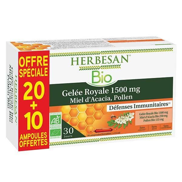 Herbesan Gelée Royale Bio 20 ampoules + 10 Offertes