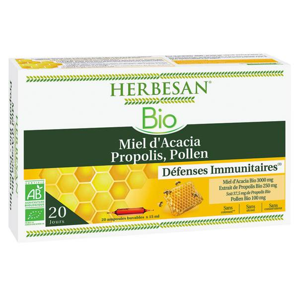 Herbesan Miel Pollen Propolis Bio 20 ampoules 15ml