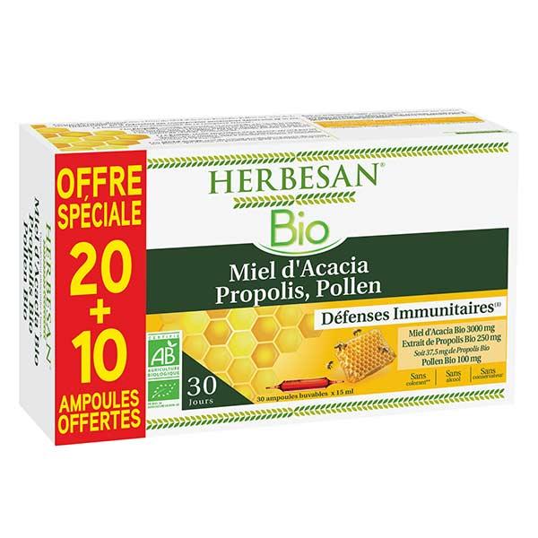 Herbesan Miel d'Acacia Propolis Pollen Bio 20 ampoules + 10 offertes