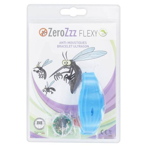 Zerobugs Zerozzz Flexy Bracelet Anti-Moustiques à Ultrason Bleu