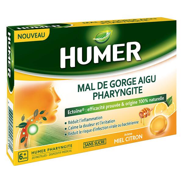 Humer Mal de Gorge Aigu Pharyngite Arôme Miel Citron 20 pastilles