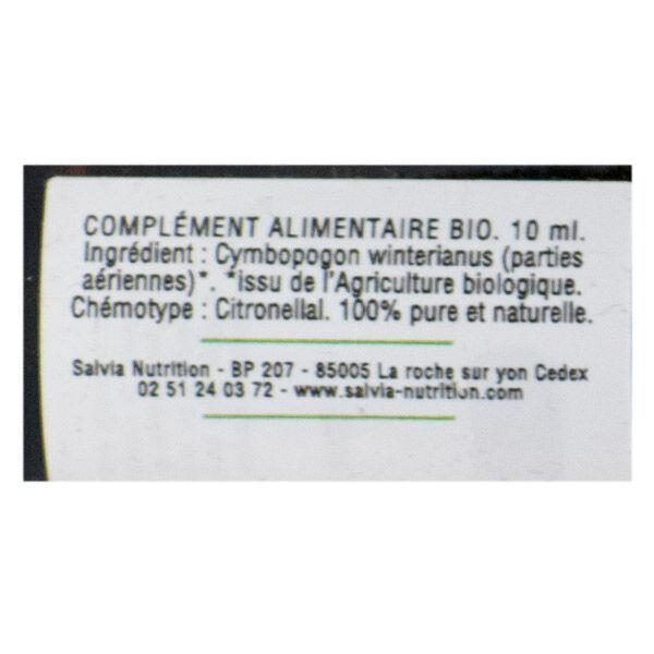 Salvia Huile Essentielle Bio Citronnelle de Java 10ml