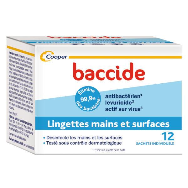 Cooper Baccide Lingettes Mains et Surfaces 12 lingettes individuelles
