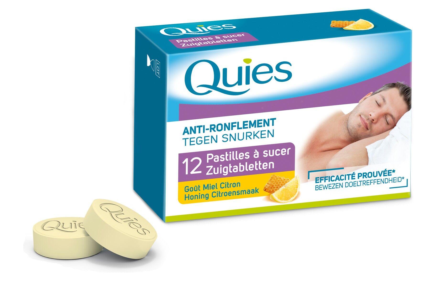 Quies Anti-Ronflement Pastilles à sucer Goût Miel/Citron 12 pastilles