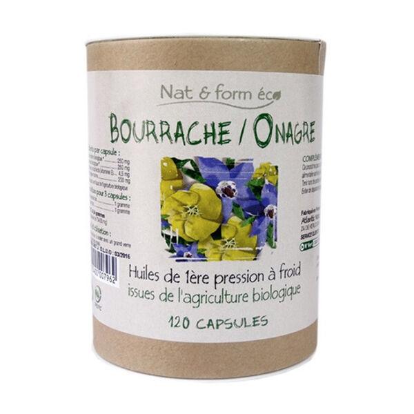 Nat & Form Eco responsable Huiles de Bourrache et Onagre bio + Vitamine E 120 capsules
