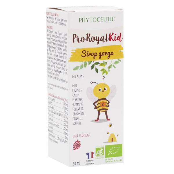 Pro Royal Phytoceutic Pro Royal Kid Sirop Gorge Goût Framboise Bio 90ml